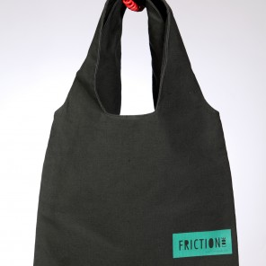 Dark green bag with green label