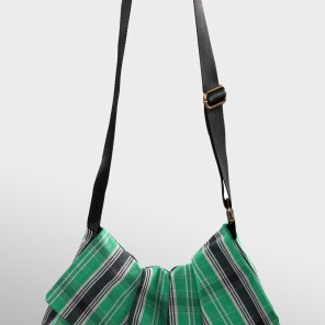 GREEN/BLACK TARTAN BAG