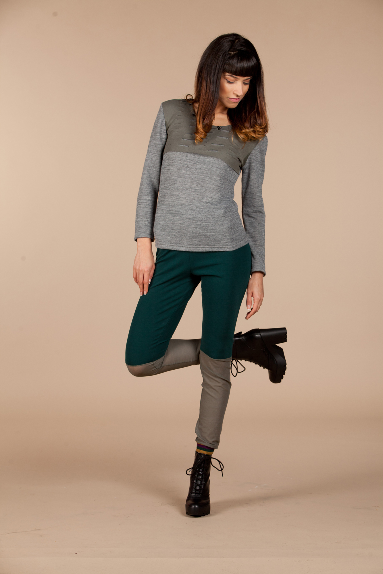 GREEN  / GREY LEGGINGS